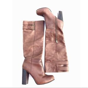 DKNY Brown Leather Heeled Buckle Boots 8